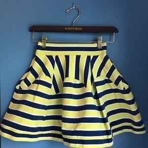 Striped full mini skirt in stretch jersey